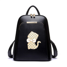 cat backpack bags for girls mochilas escolares black PU leather backpack for women back pack cute book bags children backpacks