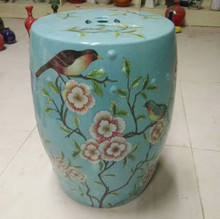 Famille Rose Porcelain and Ceramic Garden Table ceramic Stool With Flower Bird Design(China)