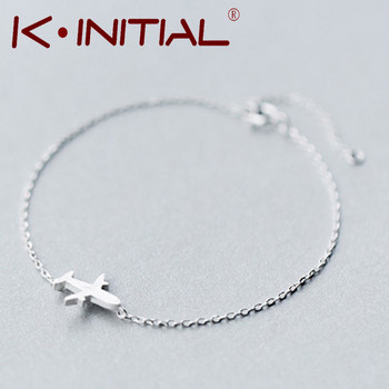 Kinitial 1Pcs New 925 Sterling Silver Trendy Matte Aircraft Airplane Plane Chain Bracelet&Bangle Charm Jewelry pulseras de pla