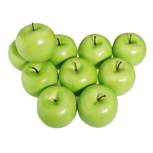 PHFU 12pcs Decorative Large Artificial Green Apple Plastic Fruits Home Party Decor(China)