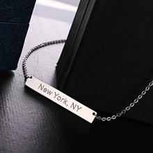 Fashion Jewelry Pendant Necklace Delicate Geometry Stainless Steel Bar Silver Color Necklaces for Women Girl New York Gift(China)