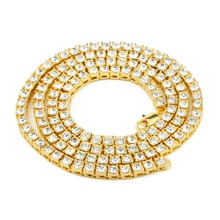 Women Men Wholesale Golden Bling 1 Row Simulated Stone Necklaces Charm Full Rhinestone Hip Hop Jewelry Gifts Chains(China)
