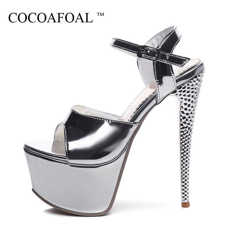 COCOAFOAL Woamn Silver Wedding Sandals Plus Size 31 - 48 High Heels 16 CM Sandals Fashion Sexy Golden Rose Red Peep Toe Pumps<br>