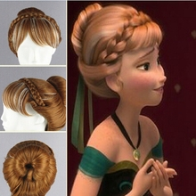 Children's wig Princess Anna/Anna Snow and ice colors Dish hair highlights modelling cosplay wig