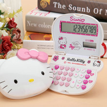 Cute Kawaii Lovely Pink 3D Hello Kitty Mini Portable Function Calculator Solar 12 Digital Display Students Scientific Calculator(China)
