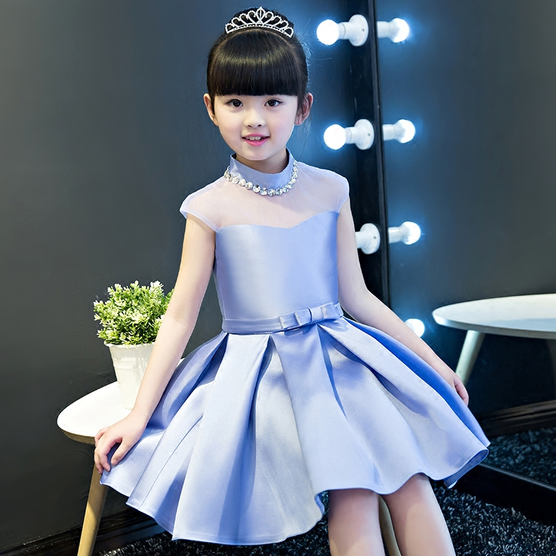2017New Korean Cute Elegant Charming Kid Girl Blue Color Pageant Dress Children Party Wedding Formal Bridesmaid Princess Dresses<br>
