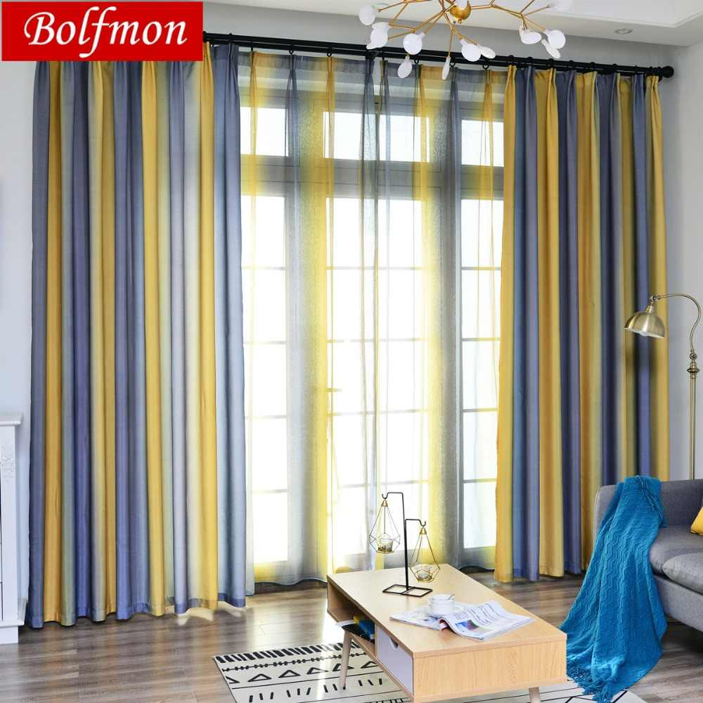 4 Colors Nordic Simple Yellow Curtains for Living Dining Room Bedroom Fabric Custom Striped Dark Grey Curtains Window Finished