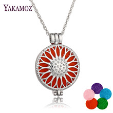 New Arrival Women DIY Jewelry Perfume Necklace Aromatherapy Diffuser Locket Sunflower Pendant Necklace Best Friends Gift Choker