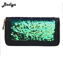 Fashion Bling Sequined Coin Long Zipper Clutch Purse Women Card Holder Wallet(China)