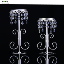 2PCS/LOT Tall Foot Glass Candlestick Candle Holders Reception For Wedding Lamp Place Crystal Ball Crafts Portavelas Candelabra(China)