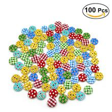 100pcs Multicolored Grid & Dot Patterned 2 Holes Wood Sewing Buttons Party Wedding Decoration Supplies Kids Gift(China)