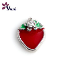 Shuyani 20pcs/lot DIY Cute Enamel Strawberry Charms with Crystal Fruit Charms for Floating Locket Charms Wholesale