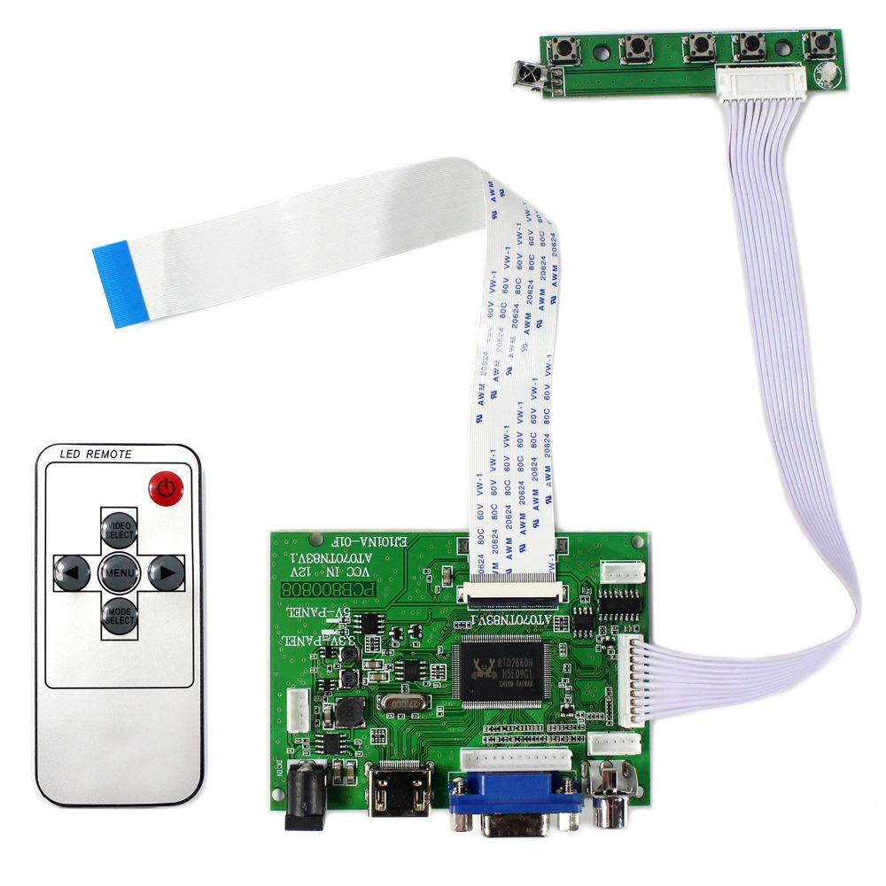 HDMI VGA 2AV LCD Controller Board For 7inch 800X480 AT070TN83 V1 IPS LCD Screen<br>