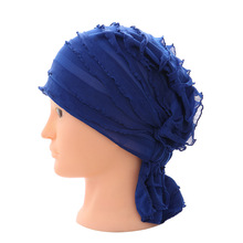1PC Fashion Womens Cotton Chiffon Ruffle Cancer Chemo Hat Beanie Scarf Turban Head Wrap Cap Hair Accessories(China)