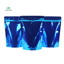 Printing Logo Blue 2 Sizes Pure Aluminum Foil Stand Up Bags Package Pouch W/zipper Food Storage Sealable Packing Bag 100x