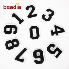 10 Pcs/set Shape Of Digital Numbers Patches Iron On Embroidered Sequin Appliques Badges Sticker For DIY Clothing Accessories(China)