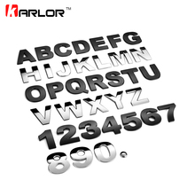 A-M 45mm 3D Car letter decoration stickers metal digital letter car stickers personalized car styling chrome plated Accessories
