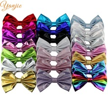 150Pcs/lot Free DHL 2017 Infantile Girl 7'' Shimmery Metallic Hair Bow Chic DIY Hair Accesories For Kids Headwear Hair Clip(China)