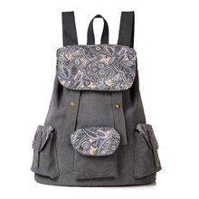 Canvas Women Backpack for School Teenagers Girls Vintage Stylish Ladies Bag Backpack Female Flowers Printing High Quality(China)