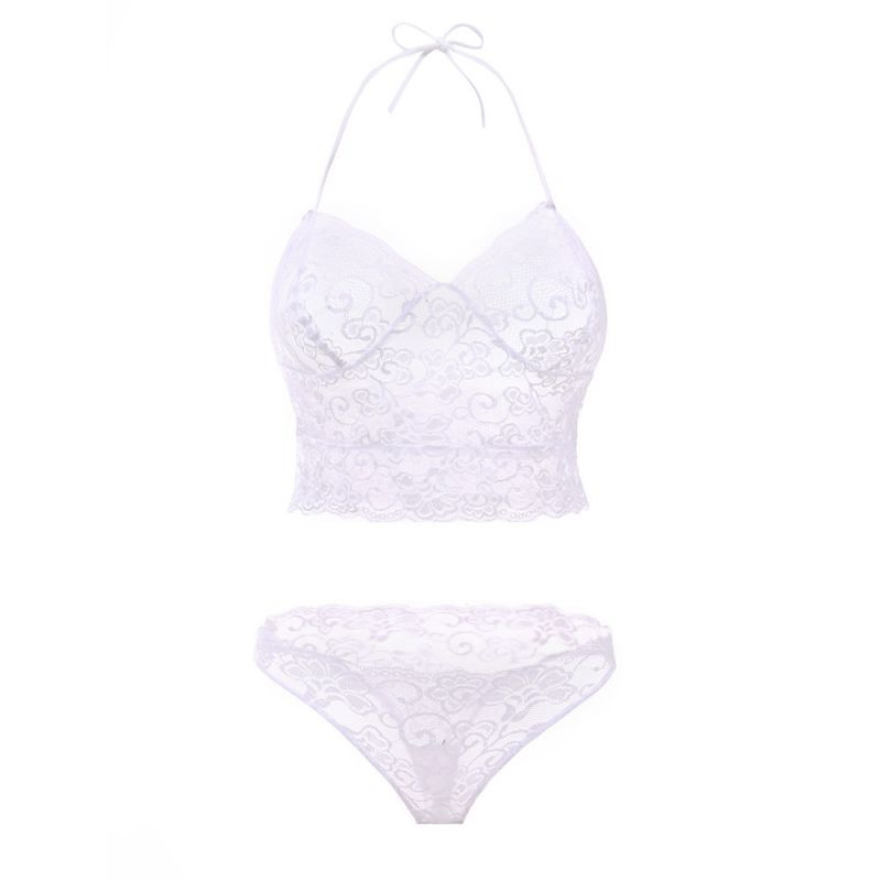 Sexy Lace Bra Set, Hollow Lace Transparent Temptation Underwear, French Style 9