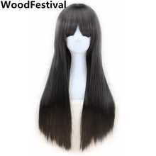 long straight wig bangs black wigs blonde pink brown burgundy wig heat resistant womens wigs synthetic hair WoodFestival(China)