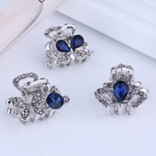 Mini Small Blue Flower Silver Filigree Jeweled Crystal Metal Hair Claw Clip Fashion Hair Accessories for Women Assorted Models
