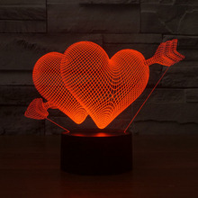 2016 Beautiful RGB Love Heart Shape 3D Cupid's Arrow Night Light Bedroom Table Lamp for Couples Lovers Wedding Anniversary Gift