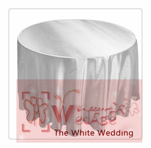 seamless-10pcs 120'' Round Satin  Tablecloths for Weddings white round tablecloth