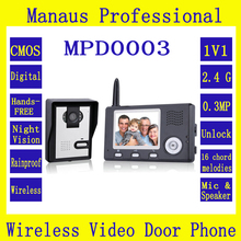 Wireless Intercom 3.5 Inch Video Door Phone Doorbell With Carmera Dual Audio Remote Unlocking Security Camera Night Vision D0003