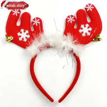 6pcs Pretty Feathered Reindeer Antlers Headband Festive Party Fancy Dress Hat XMAS Kid Hairbands head band Christmas decoration(China)