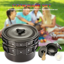 Outdoor Camping Picnic Aluminum Alloy Tableware Cookware Pots Frying Pan Bowl Set For Camping Outdoor Travel High Quality 2016(China)