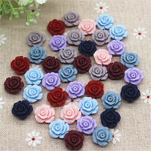 50PCS Mix Colors 13mm Cute Vintage Resin Rose Flowers Flatback Cabochon Embellishment Accessories DIY Scrapbooking Craft Making(China)