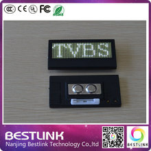 white color b1236k led name tag scrolling led sign business card rechargeable and programmable led advertising nameplate