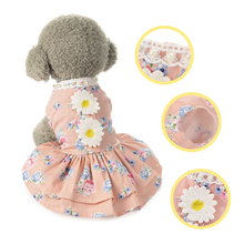 Daisy Pet Dog Dress Cotton Dog Summer Clothes for Dog Puppy Fancy Print Flower Skirt Poodle Pomeranian Dress 40S1(China)