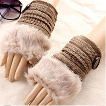 Lady Warm Fashion Knitted Faux Fur Fingerless Gloves Button Wrist Soft Warm Knitting Wool Gloves(China)