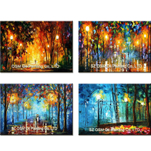 100% Hand Painted Knife Landscape Oil Painting Hang Paintings Modern Street View Picture For Room Decor Pictures Canvas Painting(China)