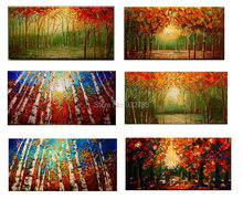Free shipping 1 panel piece large canvas wall art sets cheap hand-painted palette knife painting tree sun home decoration