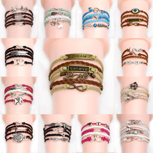 Multilayer Braided charm Bracelets Vintage Owl Harry Potter wings infinity bracelet Multicolor woven leather bracelet & Bangle