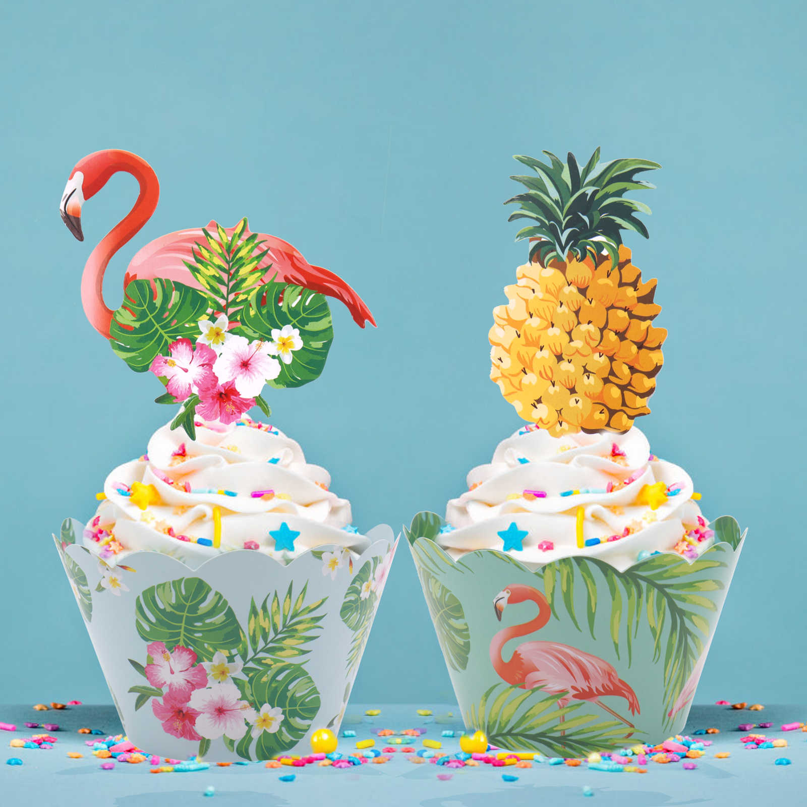 Detail Feedback Questions About 24pcs St Tropic Flamingo Pineapple Cupcake Wrappers Cake Topper For Hawaii Wedding Birthday Party Decorating