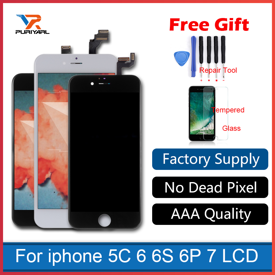 AAA iphone 5s 5c 6 plus 6s 6 7 LCD Display Touch Screen Digitizer Assembly Replacement White black Broken LCD