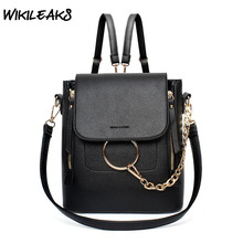 WIKILEAKS Womens Backpack Shoulder Bags PU Leather Bag for Women Casual Totes Fashion Chain Ladies Street Bag Black Red Gray B07