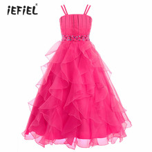 iEFiEL Kids Flower Girls Dress Organza Pageant Wedding Ball Gown Dress Princess Birthday Party Formal Maxi Tulle Dress SZ 4-14Y(China)