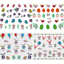 5 Sheets Happy Easter 3D Nail Sticker Bunny Egg Chicken Cartoon Manicure Nail Art Decoration