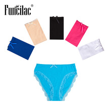 Buy FUNCILAC Seamless Panties Woman Underwear Sexy Cotton Briefs High Waist Plus Size Panties Underpants Knickers Ladies 5pcs/Lot