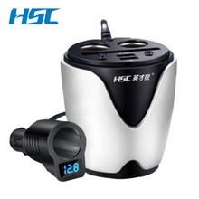HSC 12-24V 3.1A Output USB Car Charger &Circuit Breaker Quick Charge Car Cup Holder Car Cigarette Lighter Socket Adapter(China)
