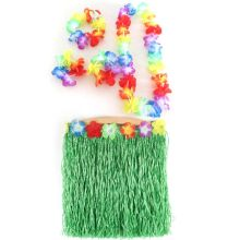 5pcs Hawaiian Luau Garland Headband Wristband  Hula Skirt Fancy Dress Grass