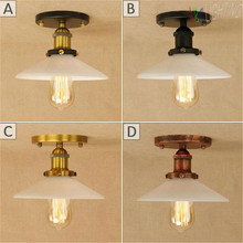 Iron Surface Mounted Ceiling Lighting American Style milky glass shade Ceiling Lights Bedroom Living Room Ceiling Lamp