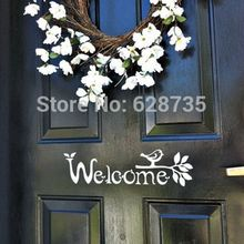 Welcome Sign Vinyl Front Door Decal with bird and branch, FREE SHIPPING Housewares F3051