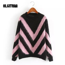 2017 New Autumn Mohair Sweater Primer Shirt Long-Sleeved Round Neck Geometric patterns collision color Hedging Loose Sweater(China)