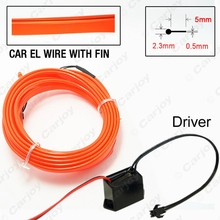 Red 5m Flexible Moulding EL Neon Glow Lighting Rope Strip with fin for Car Decoration #CA4635
